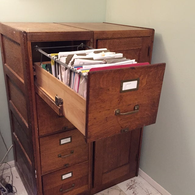 Antique Wooden Filing Cabinet With Attached Storage - Image 9 of 11