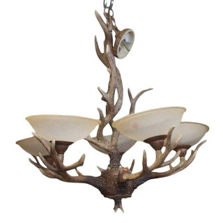 Kichler Lighting Buckhorn Chandelier Ozark Rustic With Frosted Glass Shades For Sale