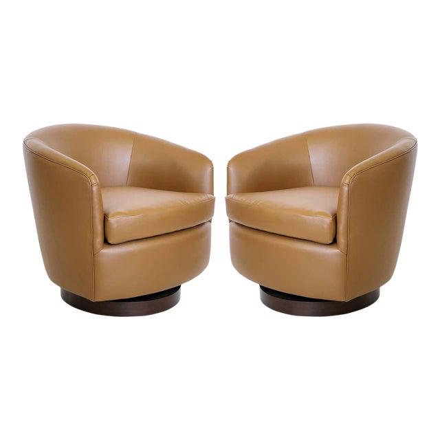 Milo Baughman for Thayer Coggin Tilt & Swivel Lounge Chairs - A Pair For Sale