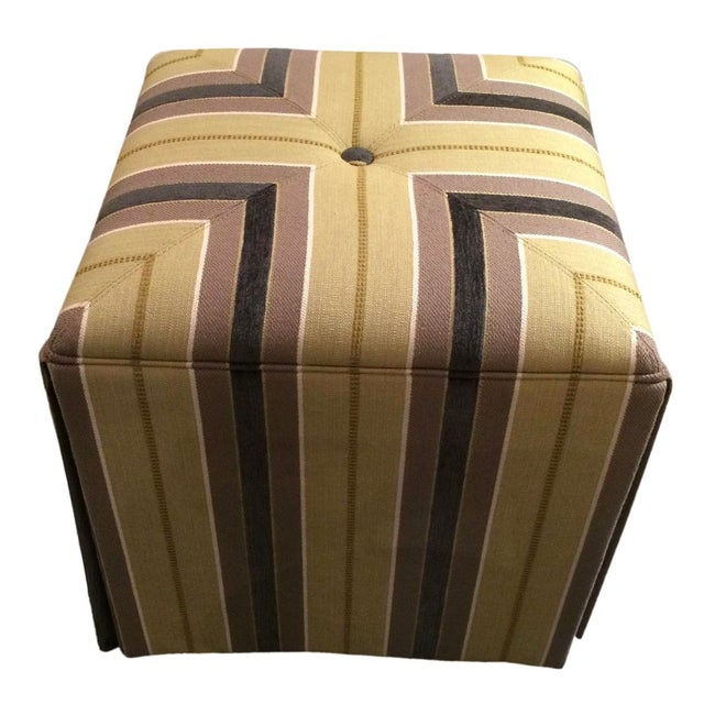 Textile Taylor King Upholstered Striped Cube Ottomans - a Pair For Sale - Image 7 of 7