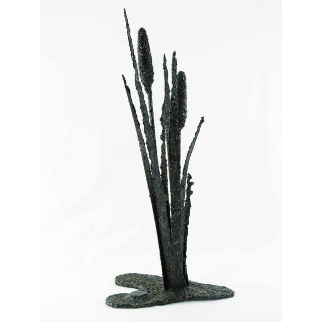 Vintage Brutalist Torch Cut Cattail Sculpture - Image 4 of 6