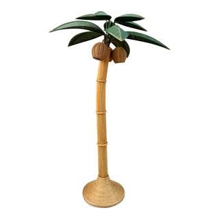 1970's Mario Lopez Torres Rattan Palm Tree Floor Lamp For Sale