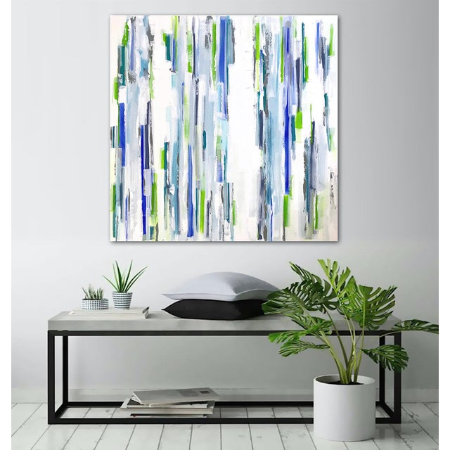 "Minimal with intriguing layers, texture and detail. Metallic steel blue-grey accents shimmer in the light. 36"" x 36"" x..."