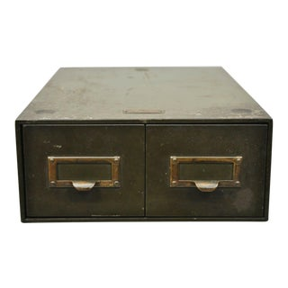 Vintage Steel Metal Green General Fireproofing Co 2 Drawer 3x5 File Card Cabinet For Sale