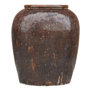 Antique Qing Dynasty Large Glazed Water Jar For Sale