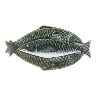 1880 Vintage Majolica Fish Platter, Choisy Le Roi For Sale