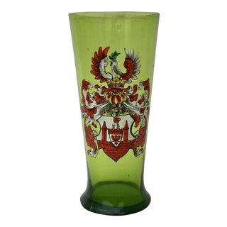Antique Bavarian Beer Glass Coat of Arms For Sale