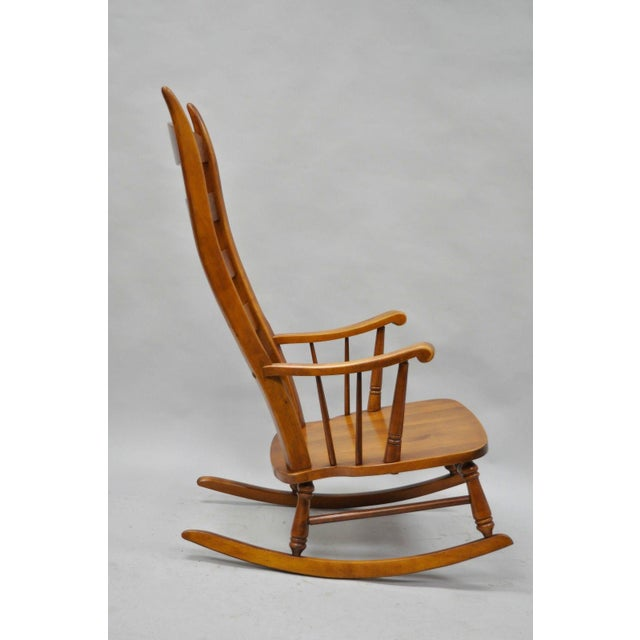 Brown Mid-Century Tell City Maple Sculptural Ladder Back Rocking Chair For Sale - Image 8 of 11
