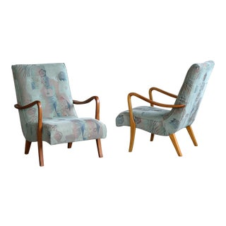Pair of Swedish Midcentury Lounge Chairs With Open Elmwood Armrests For Sale
