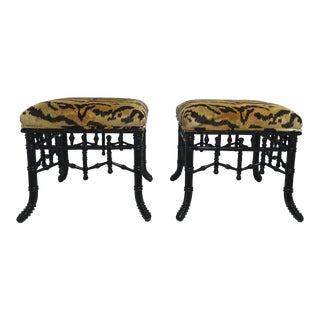 Hickory Chair Faux Bamboo Stools, a Pair For Sale