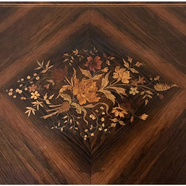 Brown 19th Century French Napoleon III Marquetry Rosewood Dropleaf Writing Table For Sale - Image 8 of 13