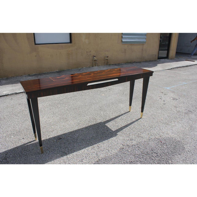 French Art Deco Exotic Macassar Ebony Console Table, Circa 1940s For Sale - Image 10 of 13