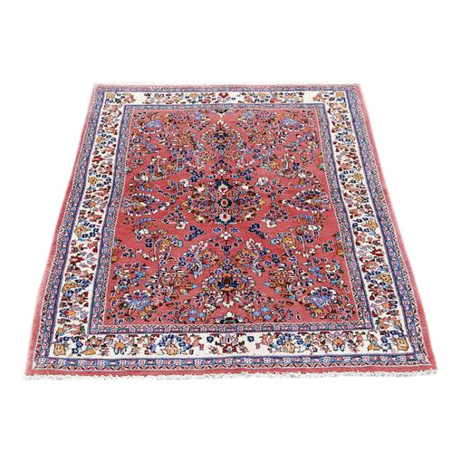 Handmade Floral Medallion Persian Sarouk Rug - 4.11' x 7.2' For Sale