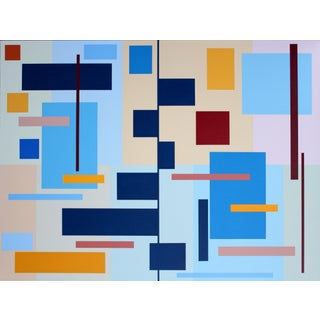 """""""Barchart Composition"""" Contemporary Geometric Hard Edge Acrylic Painting by Sassoon Kosian For Sale"""