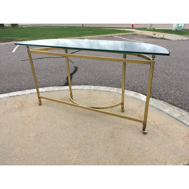 Labarge Mid-Century Labarge Brass & Glass Demi-Lune Console Table For Sale - Image 4 of 13