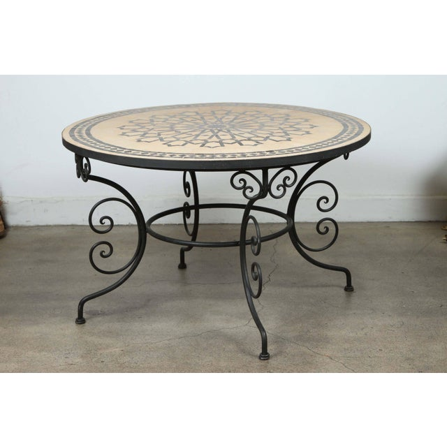 Moroccan Outdoor Round Mosaic Tile Dining Table on Iron Base 47 In. For Sale - Image 9 of 9