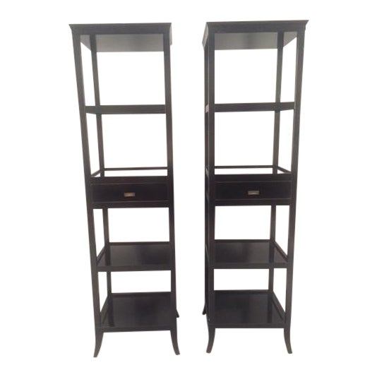 Contemporary Wood Black Lacquered Etagere Shelves - A Pair For Sale