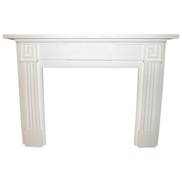 Restored 19th C. Greek Revival White Primed Fireplace Mantel Mantle For Sale - Image 11 of 11