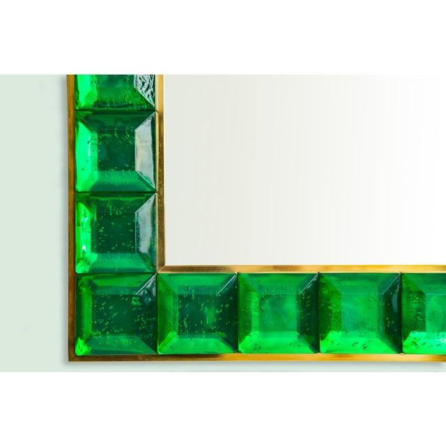 Contemporary Green Diamond Murano Glass Mirror For Sale - Image 4 of 8