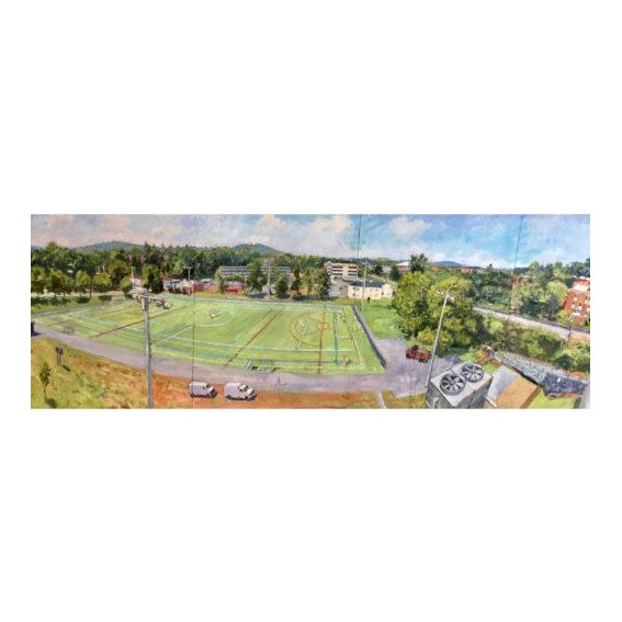 Contemporary View West From Culbreth Arts Grounds – Parking Deck Oil Painting by Edward Thomas For Sale