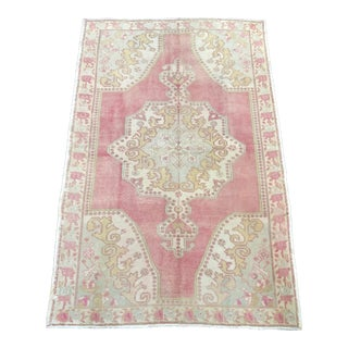 Pink Cream and Green Faded Oushak Turkish Antique Area Rug 4′7″ × 7′1″ For Sale