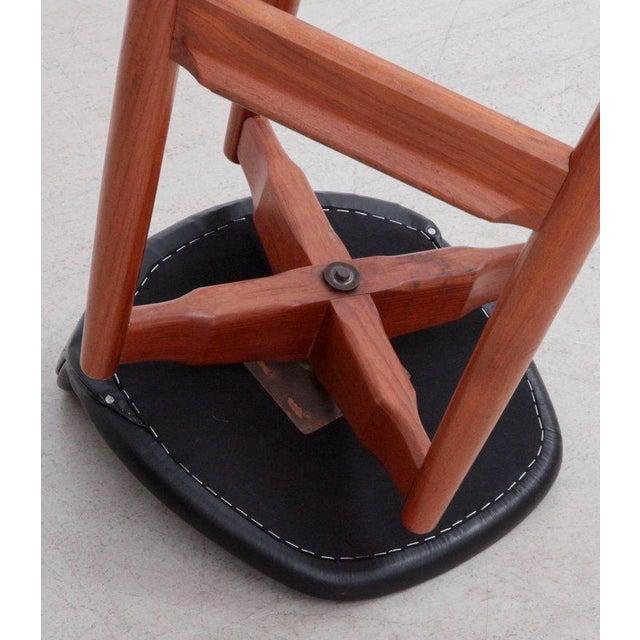 Animal Skin Pair of Arne Vodder Teak Bar Stools for Sibast Furniture For Sale - Image 7 of 9