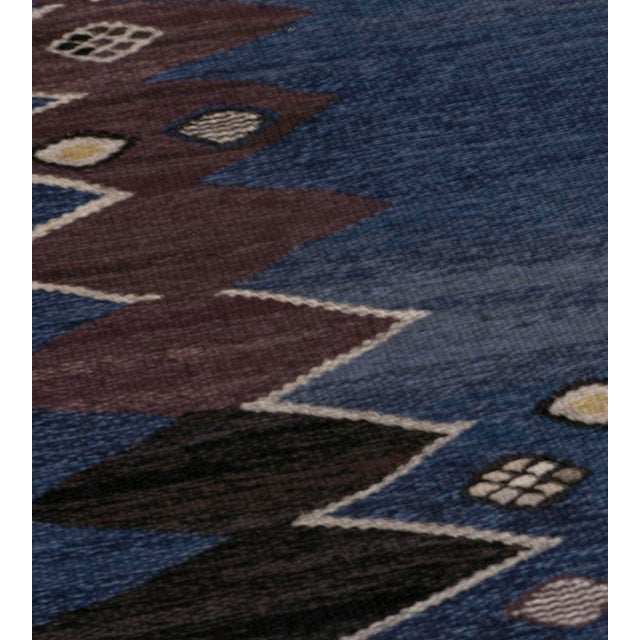 Textile Mid 20th Century Signed Mid-Century Wool Handwoven Swedish Rug For Sale - Image 7 of 8