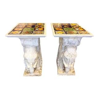 1950s Mediterranean Talavera Tile Topped Elephant Garden Tables - a Pair