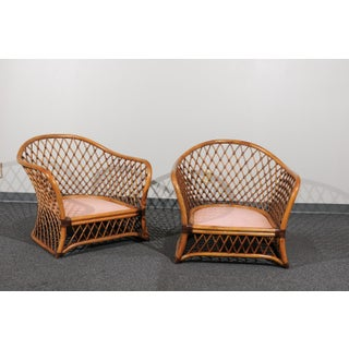 Sculptural Restored Pair of Large-Scale Lattice Club Chairs, Circa 1990 Preview