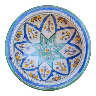 Ceramic Wall Plate W/ Blue Moorish Motif For Sale