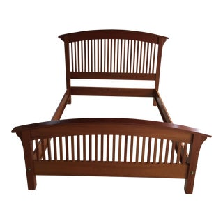 Queen Size Cherry Wood Arched Spindle Bed