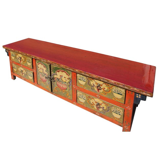 Dog Console Table ~ Chinese orange tibetan skull foo dogs console table