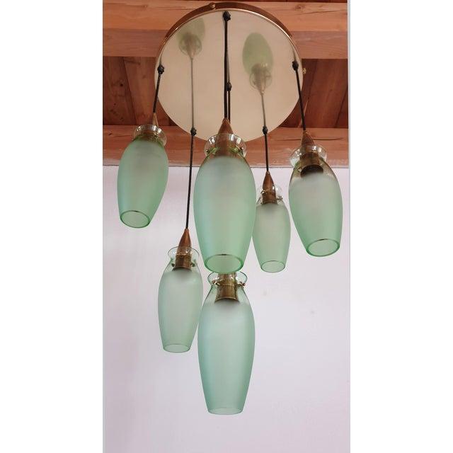 Italian Mid-Century Modern Brass & Glass Flush Mount, Arredoluce For Sale In Boston - Image 6 of 13