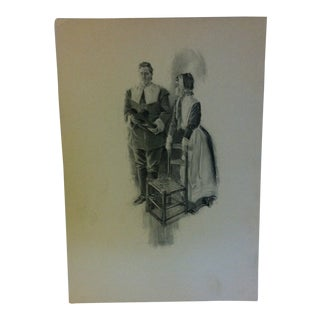 "Vintage Miles Standish Print ""The Chair"" by Howard Christy 1903 For Sale"