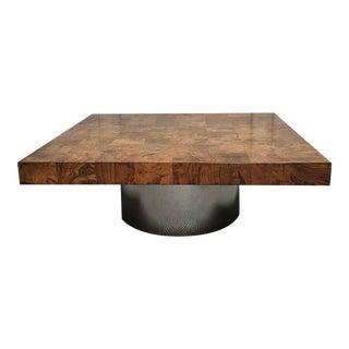 1970s Italian Modern Olive Wood & Chrome Coffee Table For Sale