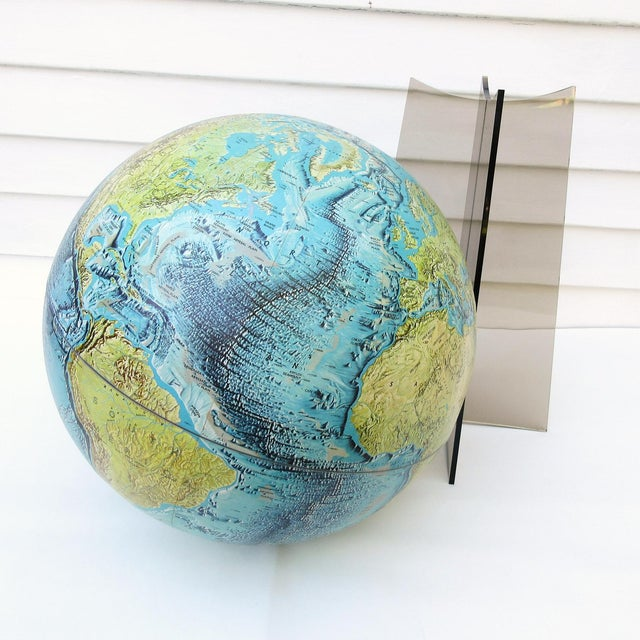 Large Replogle World Globe and Lucite Stand For Sale - Image 6 of 9
