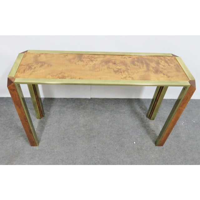 Mid 20th Century Mid-Century Pace Burl & Brass Console Table For Sale - Image 5 of 7