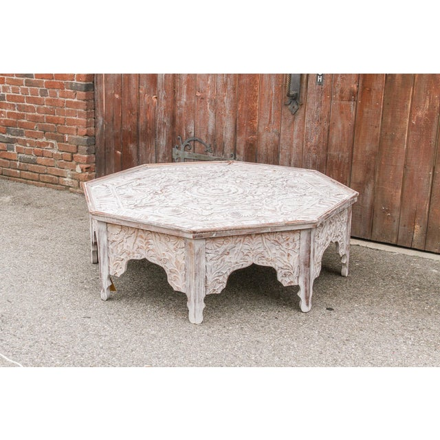 Grand White-Washed Moorish Carved Octagonal Coffee Table For Sale - Image 4 of 9