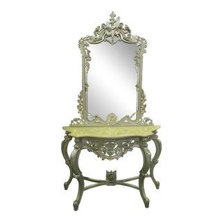 Vintage Silver Marble-Top Vanity For Sale