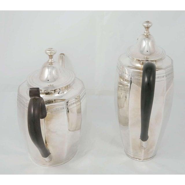 Silver plate coffee & tea pot, circa 1880. Lovely set for any afternoon tea. Tea Pot: W28 x D10.5 x H17 cm Coffee Pot: W24...