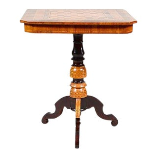 Antique Inlaid Walnut & Fruitwood Game Table For Sale
