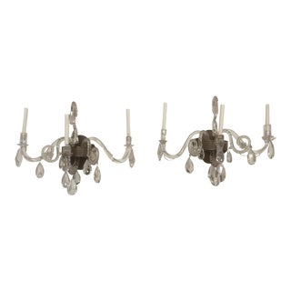 Antique Blown and Cut Crystal Sconces - a Pair For Sale