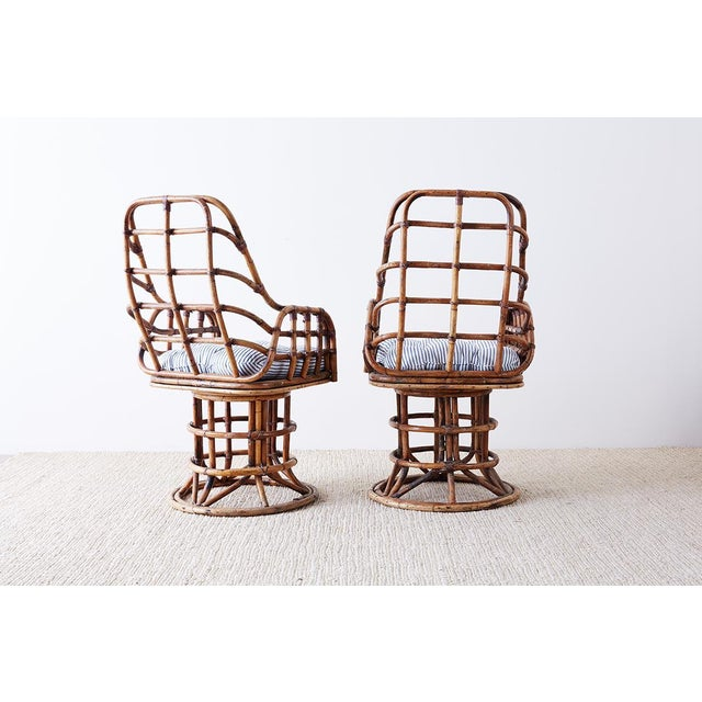 Franco Albini Style Bamboo Rattan Swivel Lounge Chairs For Sale In San Francisco - Image 6 of 13
