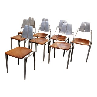 Robert Josten Aluminum and Maple Modern Industrial Dining Chairs Set of 8 For Sale