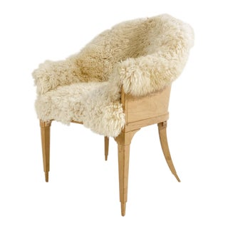 Vintage Barrel Back Chair Restored in California Sheepskin For Sale
