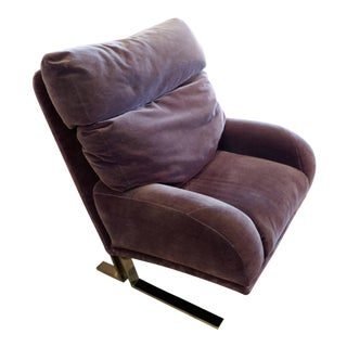 1970s Purple Wool Mohair Directional Lounge Chair For Sale