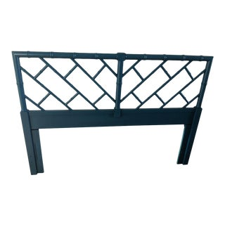 Boho Chic Henry Link Faux Bamboo Turqoise Gloss Full Headboard For Sale