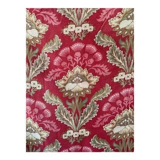 Antique French Art Nouveau Red Cretonne Curtain For Sale