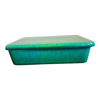 Mid 20th Century Raymor Italian Emerald Green Ceramic Box For Sale