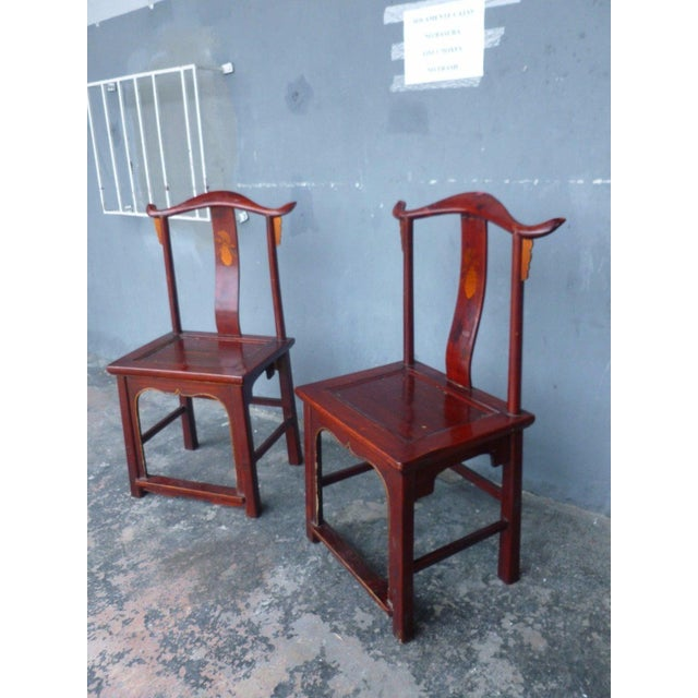 Pair of 19th Century Red Lacquer Ming Chairs For Sale In Miami - Image 6 of 13